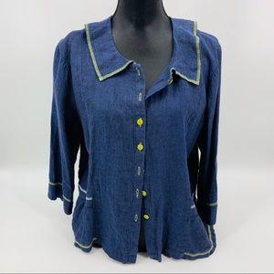 Flax Blue Linen Blouse Blazer Jacket